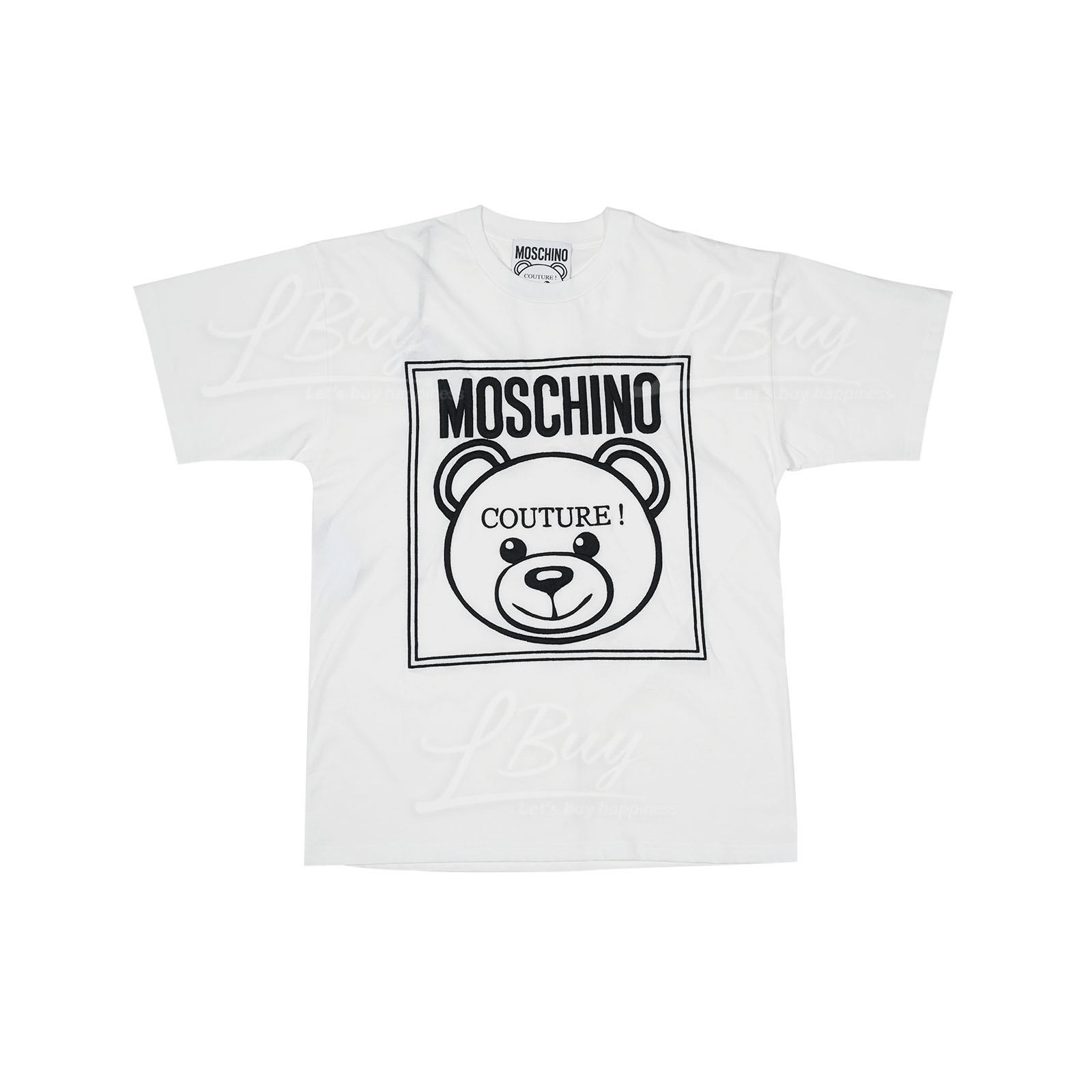 Moschino Couture 刺繡泰迪熊Logo 短袖T恤 白色