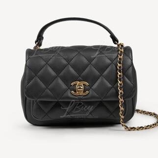 Chanel 木炭黑小牛皮手挽鏈帶垂蓋手袋