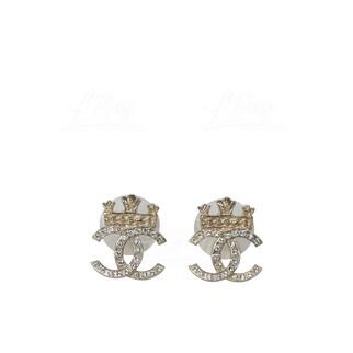 Chanel 金色皇冠CC Logo水鑽耳環