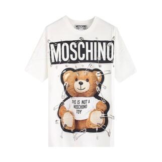 Moschino Couture 扣針泰迪熊Logo 短袖T恤 白色