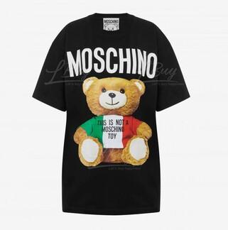 Moschino Couture 意大利國旗泰迪熊Logo 短袖T恤 黑色