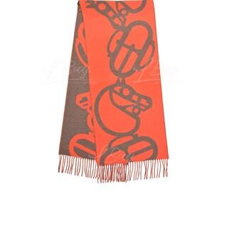 Hermes Boucles Et Camails Muffler 橙色併棕色 全羊絨圍巾