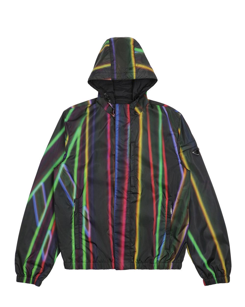 Black & Multicolor Hooded Zip Jacket SGN5221P61
