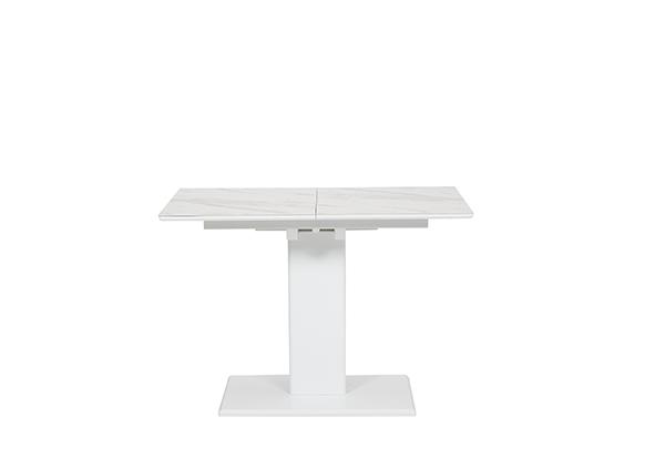 雲石紋伸延餐桌 - 白色 (008)